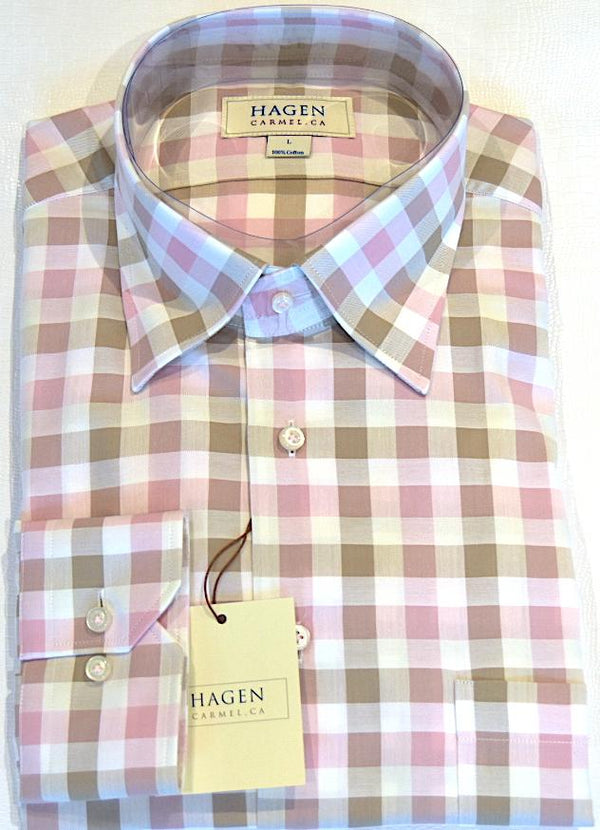 Hagen Carmel Men's Shirts Hagen Pink/Brown Check Shirt