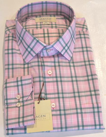 Hagen Carmel Men's Shirts Hagen Pink Plaid Shirt