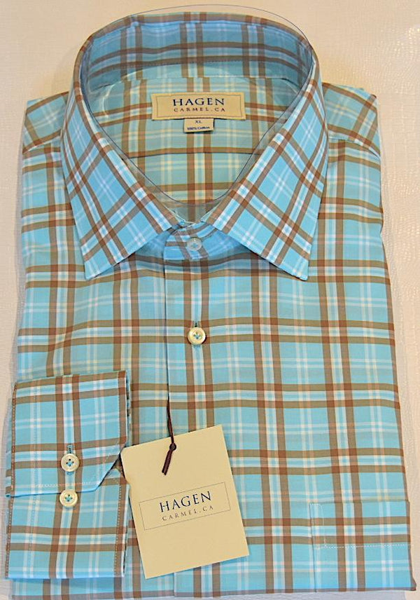Hagen Carmel Men's Shirts Hagen Teal Plaid Shirt