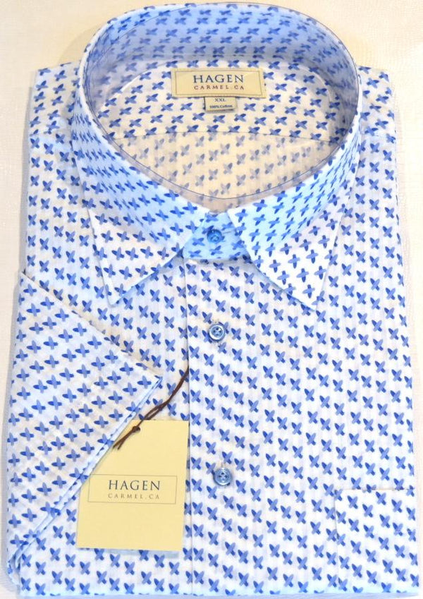 Hagen Carmel Men's Shirts & Tops Hagen Blue/White Surf Icon Short Sleeve Shirt