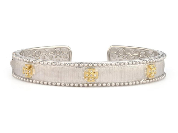 Jude Frances Bracelets Mixed Metal Narrow Beaded Maltese Cuff w 18KGold accents