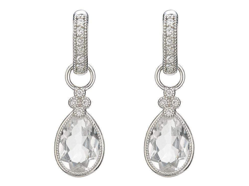 Jude Frances Earrings Jude Frances Pear Shaped Faceted White Topaz Provence Charms 18K White Gold, .06 TCW Dia