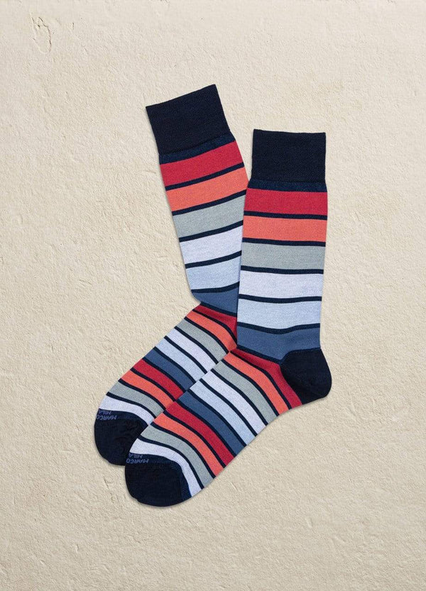 Marcoliani Men's Socks Denim Tomato Pima Cotton Lisle Bellagio Stripe Mid-Calf