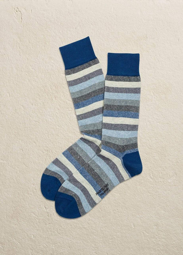 Marcoliani Men's Socks Linen & Cotton Tonal Stripe Mid Calf
