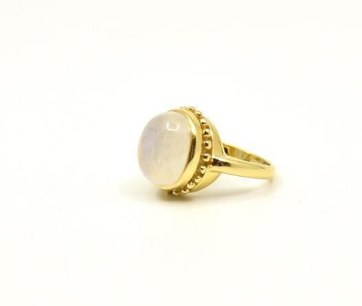 Mazza Rings Mazza Oval Moonstone Cab 14K Etruscan Ring