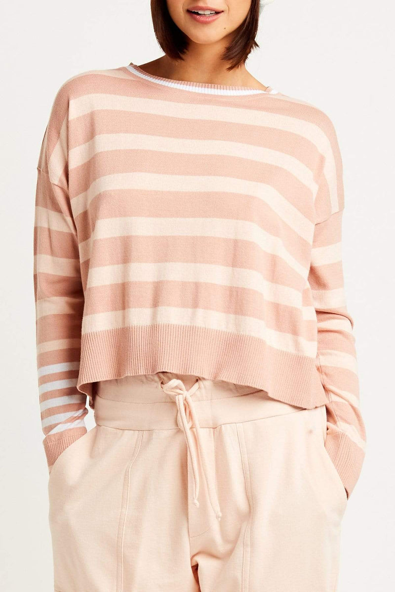 PLANET by Lauren G Women's Shirts & Tops Salmon/Shrimp/White Planet Classic Stripe Pima Top