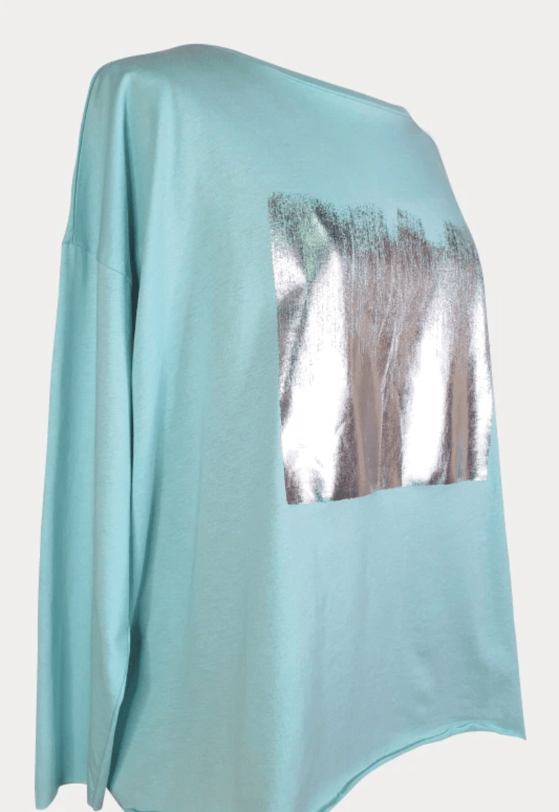 PLANET by Lauren G Women's Shirts & Tops Seafoam/Silver Planet Foil Boxy Tee
