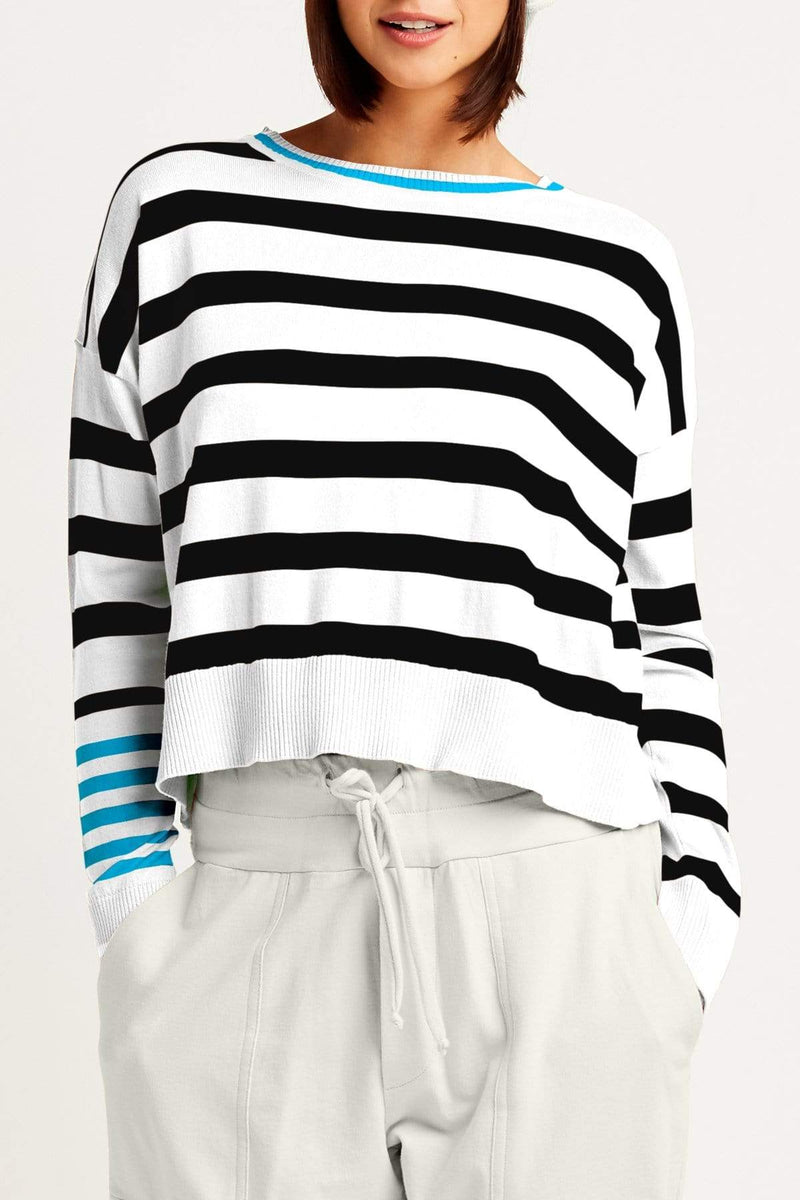 PLANET by Lauren G Women's Shirts & Tops White/Black/Caribbean Planet Classic Stripe Pima Top