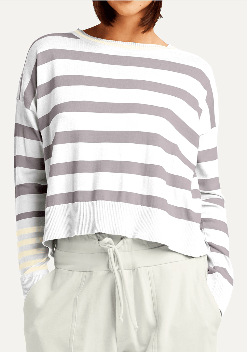 PLANET by Lauren G Women's Shirts & Tops White/Steel/Jute Planet Classic Stripe Pima Top