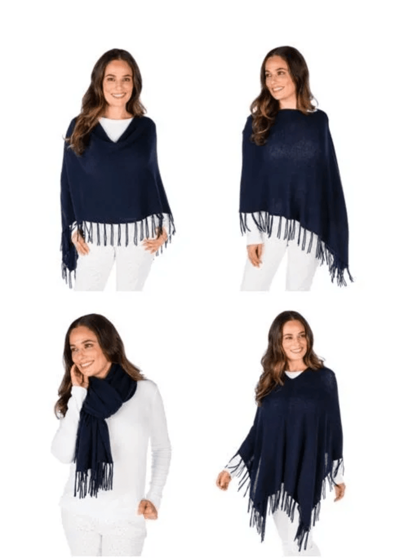 Planters Exchange Cashmere Fringed Dress Topper Poncho