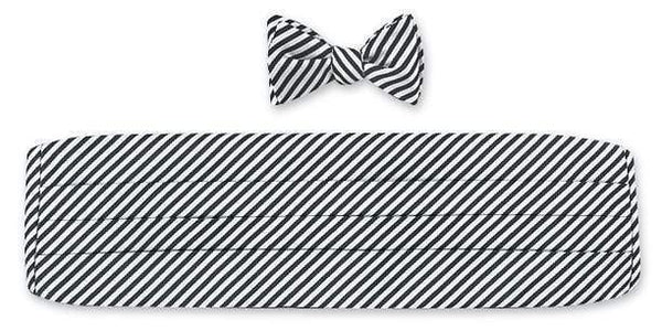 R. Hanauer Men's Necktie Black/ White Sherman Stripes Cummerbund Set