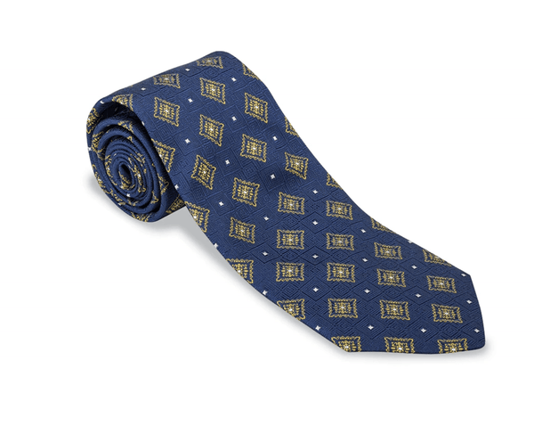 R. Hanauer Men's Necktie Navy Dogwood Medallion