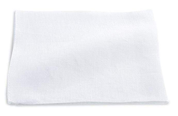 R. Hanauer Men's Pocket Square White Linen Pocket Square