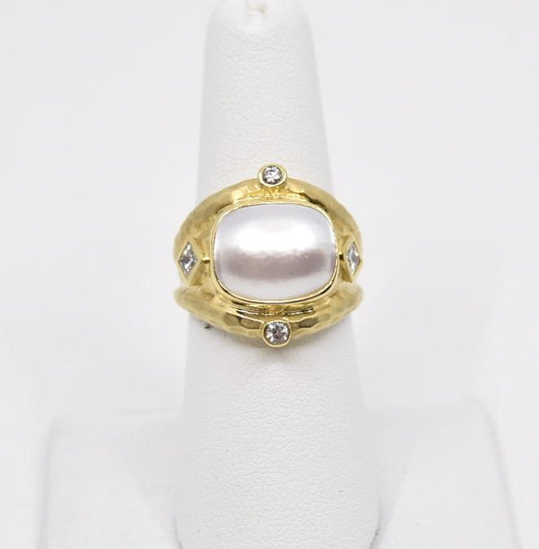Raymond Mazza Rings 14k Ring w .40cts dia. Mabe Pearl