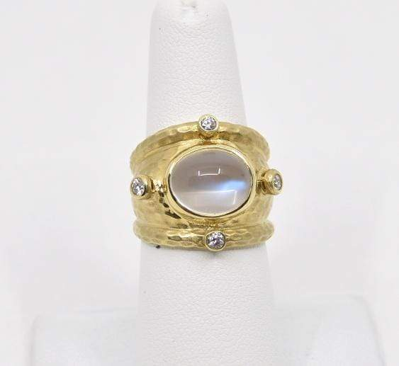 Raymond Mazza Rings 14k Ring with Large Moonstone & .24pts Diamonds