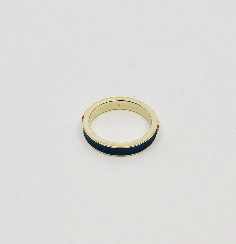 Raymond Mazza Rings Blue enamel band in 14k gold