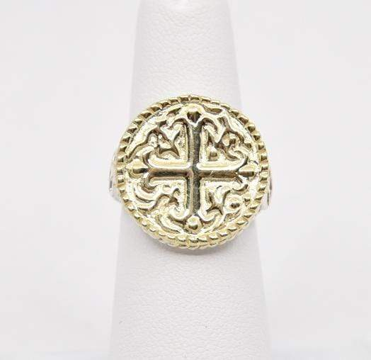 Raymond Mazza Rings Sterling ring with 14k Cross