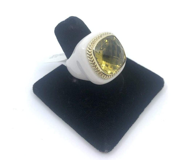 Raymond Mazza Rings White Agate Ring with 14k and Lemon Quartz Size 7.5