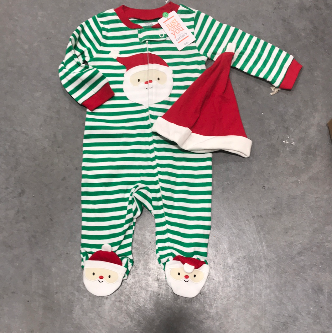 New Holiday Boys Green Stripe Sleeper Set - Size 3 Months