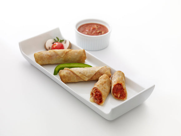 Nikolaos Fine Foods Pizza Stick Fingers served on a platter with dipping sauce and vegetable garnish