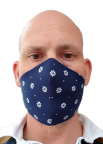 Load image into Gallery viewer, Navy Daisy - Bandana Face Mask