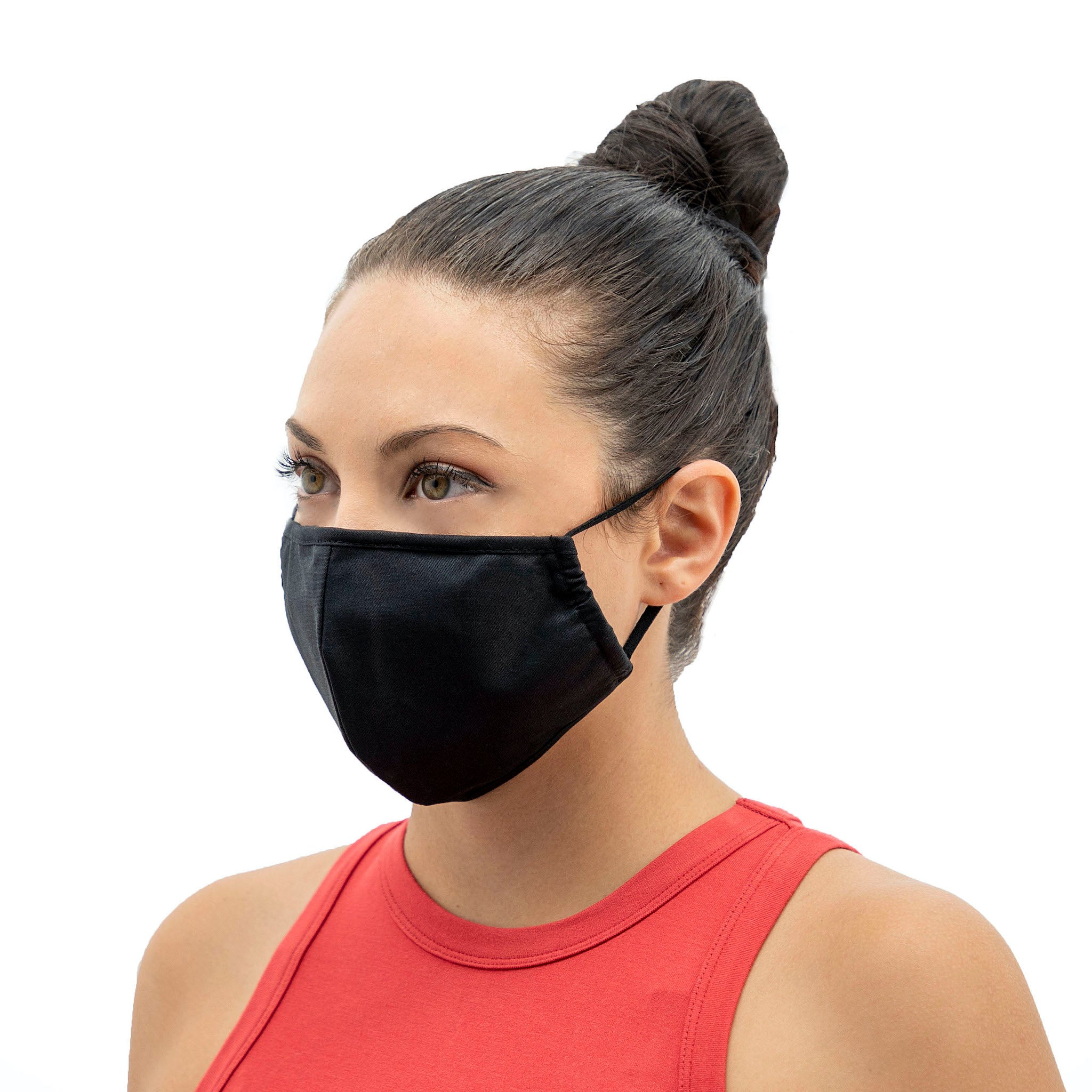 Wrapture Masks Black Face Mask Antimicrobial & Washable - On Woman