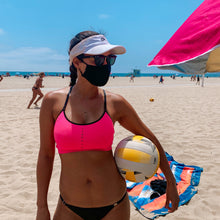 Load image into Gallery viewer, Wrapture Masks Black Face Mask Antimicrobial & Washable - On Woman At Beach