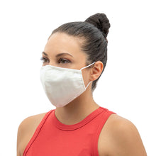 Load image into Gallery viewer, Wrapture Masks Off White Face Mask Antimicrobial & Washable - On Woman