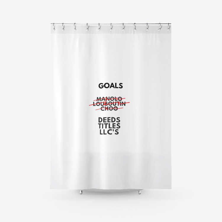 Grown up Goals Textured Fabric Shower Curtain Printed Bathroom Curtains