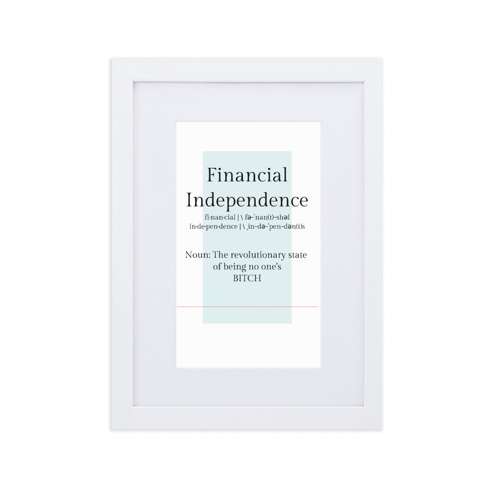 Financial Independence Matte Paper Framed Poster With Mat