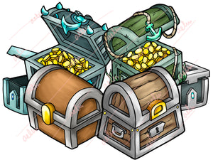 20 Treasure Chest Icons - Hand-Drawn Crates - ReadyArtShop Store Icons