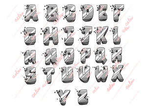 3D Hand-Drawn Alphabet Server Icons - ReadyArtShop