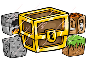 14 Hand-drawn block Minecraft Server Icons - ReadyArtShop Woodpunch Graphics