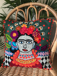 Frida Kahlo cotton embroidered cushion cover