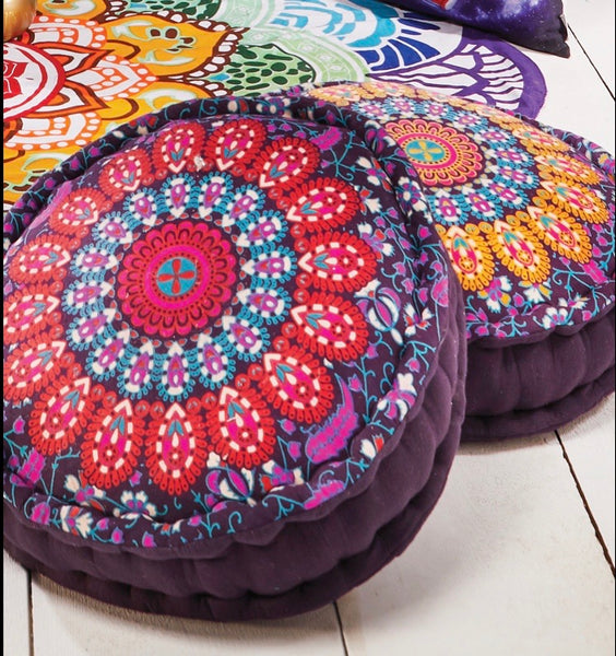 Peacock print cotton filled yoga meditation cushion