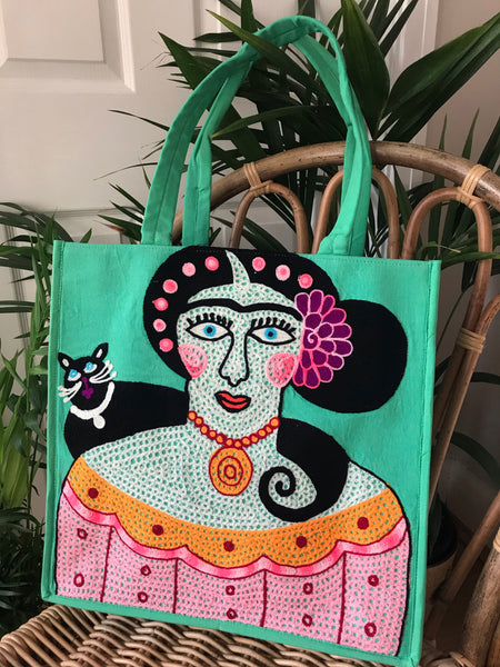 Frida Kahlo cotton embroidered tote bag