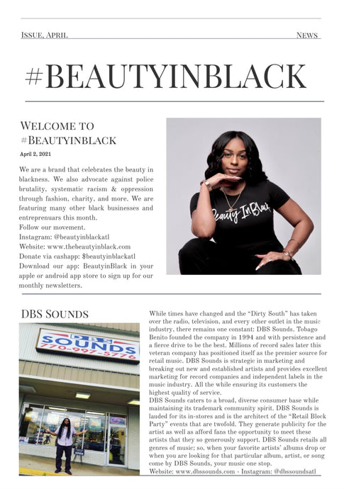 #BEAUTYINBLACK APRIL NEWSLETTER - SUPPORT THESE BLACK BUSINESSES