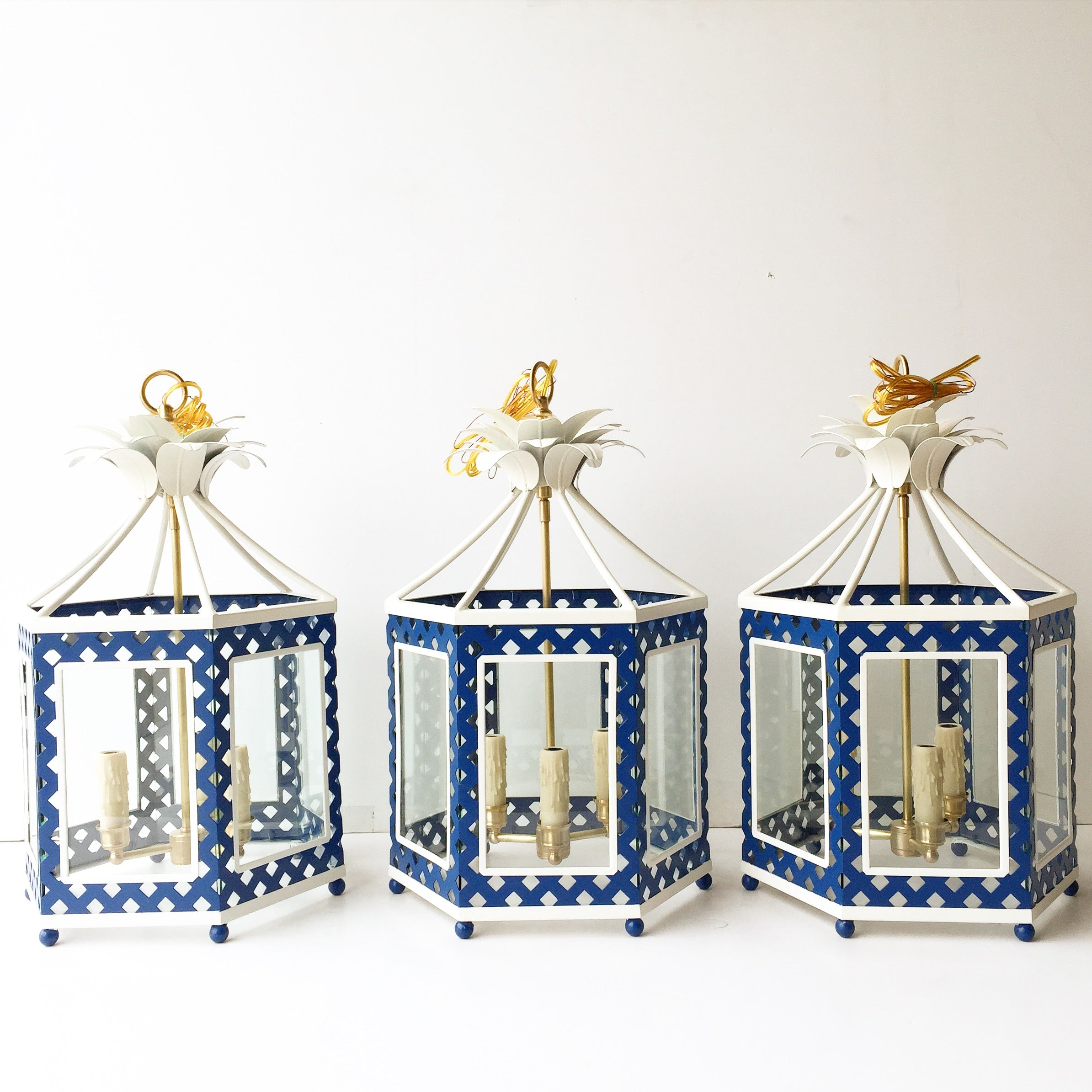 A Group of Elsie Lanterns in a Custom Blue & White