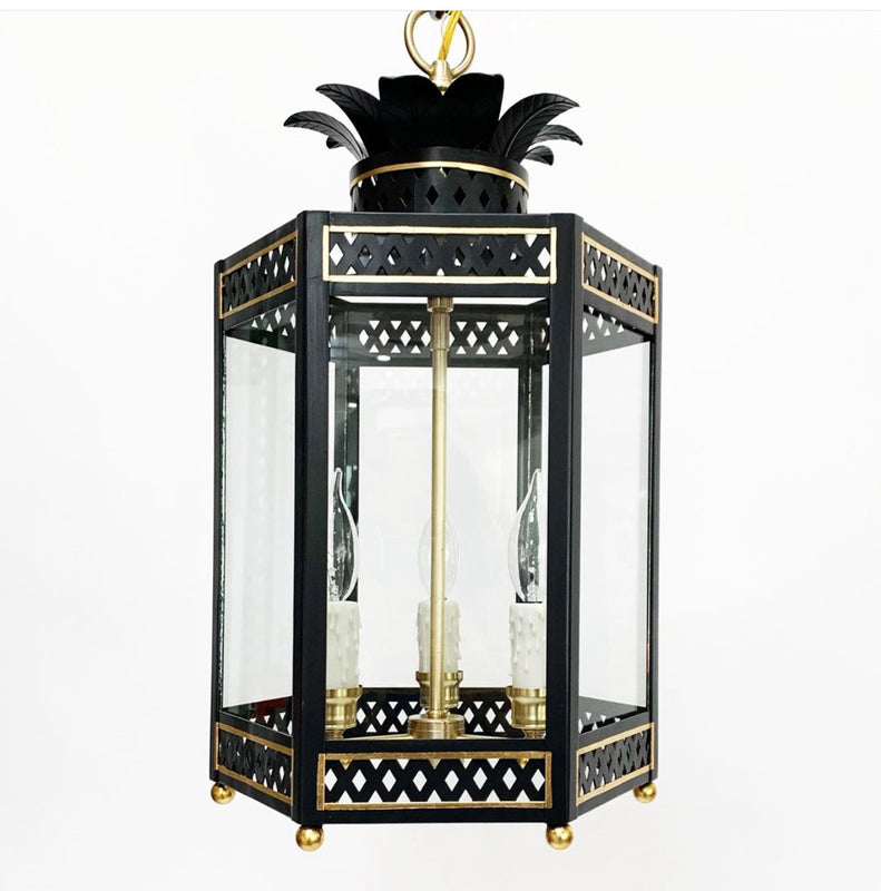 The Sarafina Lantern in Standard Lamp Post Black w/ Gold Gilt Trim