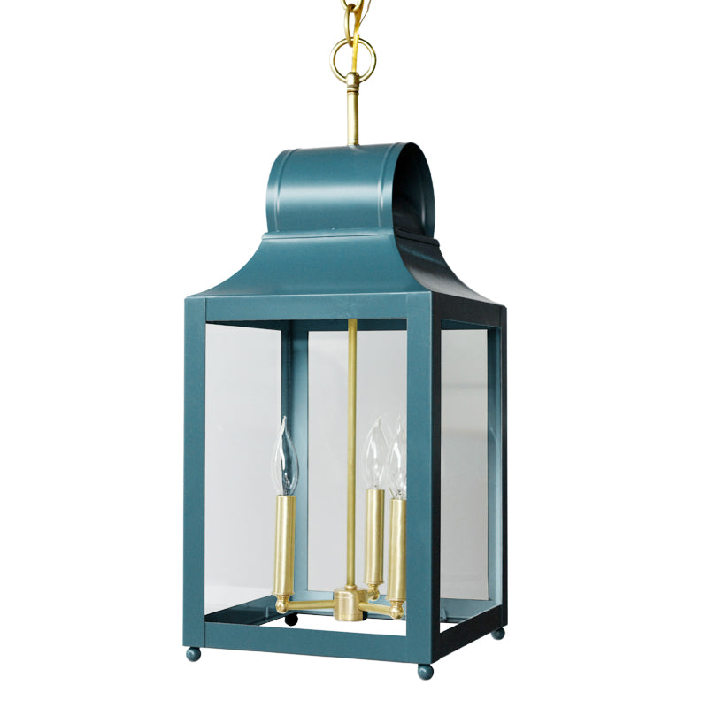 The Maribel Lantern in Standard Peacock w/ Brass Hardware