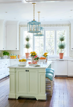 Load image into Gallery viewer, A Pair of Scalloped Lanterns in a Custom Color Over a Kitchen Island / Design by Sarah Bartholomew Interior Design / Photo Courtesy of Traditional Home Magazine