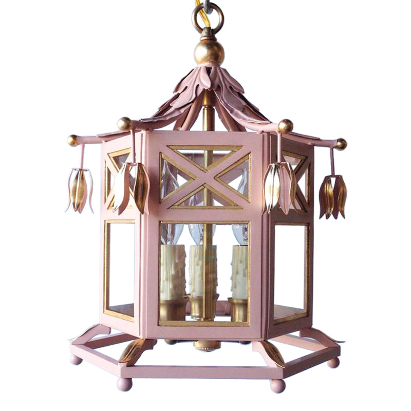 The Small Audrey Lantern in Standard Blush w/ Gold Gilt Trim & Brass Hardware