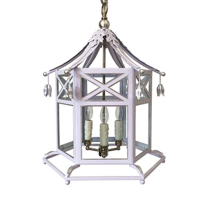 The Audrey Lantern in a Custom Lavender w/ Silver Gilt Trim & Nickel Hardware