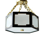 Load image into Gallery viewer, The Taylor Semi Flush in Standard Lamp Post Black w/ Gold Gilt Trim