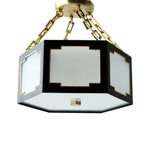 The Taylor Semi Flush in Standard Lamp Post Black w/ Gold Gilt Trim