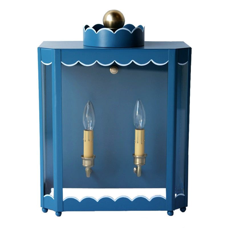 The Double Light Scalloped Sconce in a Custom Blue w/ Custom Blue Trim