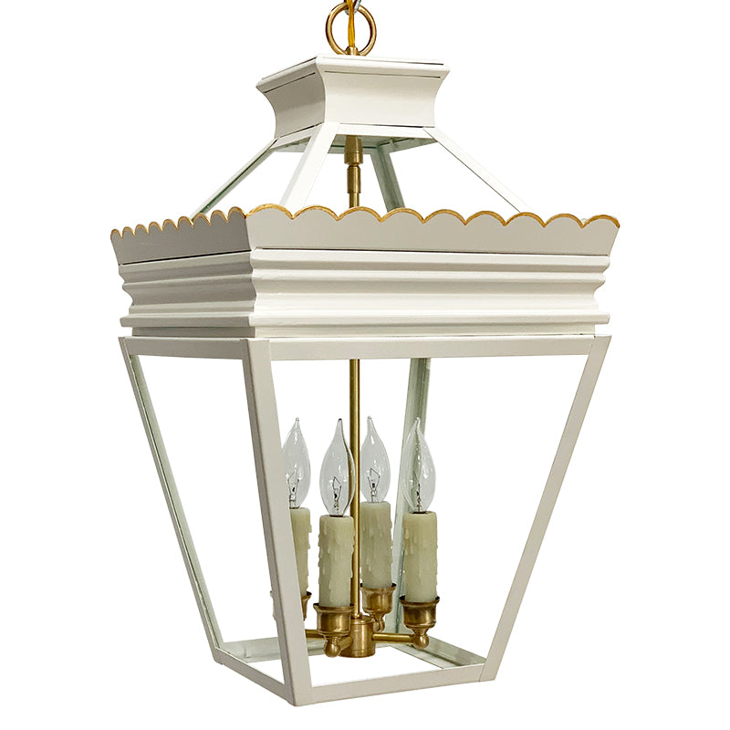 The Cleo Lantern in Standard Ivory w/ Gold Gilt Trim & Brass Hardware