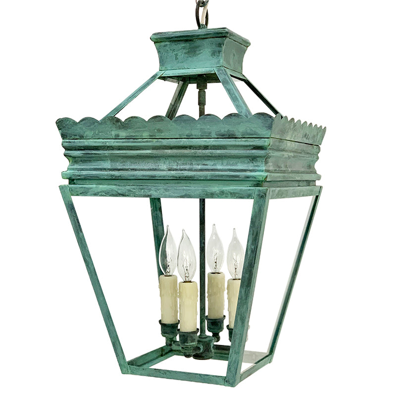 The Cleo Lantern in Verdigris Finish