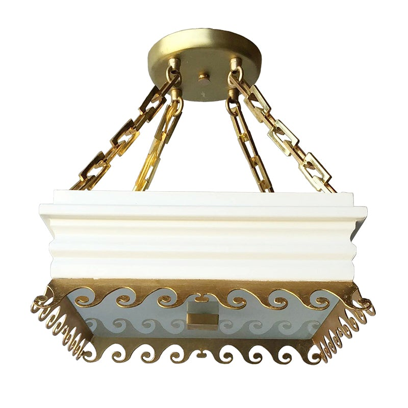 The Daphne Semi Flush in Standard Ivory w/ Gold Gilt Trim