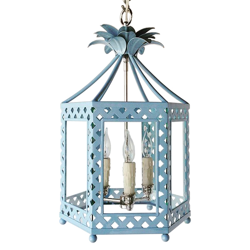 The Elsie Lantern in a Custom Solid Blue w/ Nickel Hardware